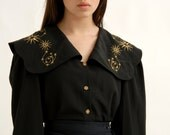 Vintage Black Grunge Goth Folk Fantasy Christmas Victorian Peter Pan Collar Moon Stars Cosmic Space Spiritual Witchy Novelty Blouse S M