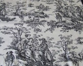 Moving Sale    Country Black and Cream Toile -   Upholstery  Fabric Piece  1 yard  French Country - Shabby - Tres Chic - Farmhouse