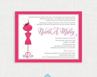 Printable Wedding Shower Invitation - Hats and Fascinators bridal shower invitation - DIY printable file