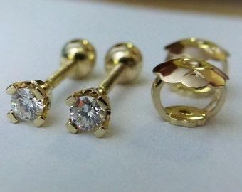 Tiny Genuine G-VS2 Diamond Earrings In Solid 14K yellow Gold Studs W/Screw Back
