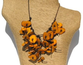 Fringe Leather Yellow Natural Tagua Necklace.