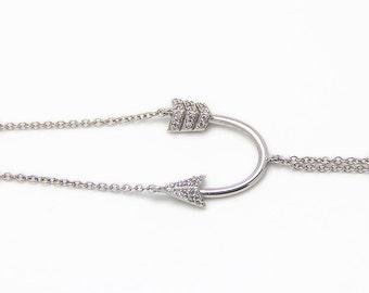 Arrow bracelete  - Silver bracelete - Zircons bracelet
