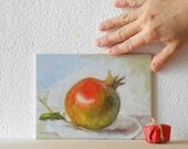 Franco's Pomegranate n.2 - Original Fruit Oil Painting Still-life - BarraganPaintings