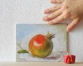 Franco's Pomegranate n.2 - Original Fruit Oil Painting Still-life - BarraganPaintings