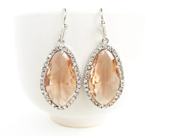 Champagne Earrings Blush Bridal Earrings Cubic Zirconia Framed Earrings Silver and Peach Earrings Blush Bridal Pink Bridal Earrings Orange