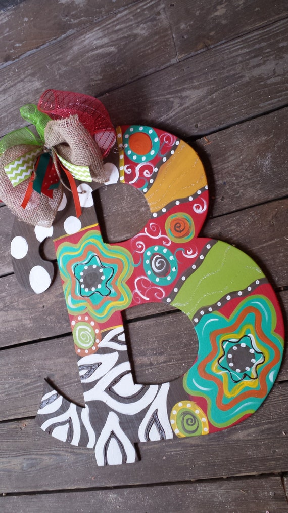Colorful And Bright Wood Initial Letter Door Hanger Flowers
