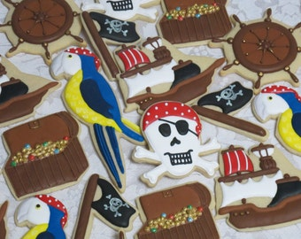 Pirate Party Sugar Cookie Favors, Pirates of Caribbean Theme Treasure Chest Parrot Jolly Roger Custom Cookies