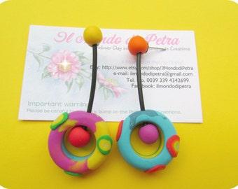 Original Coloured Art Earrings Handmade in Polymer Clay