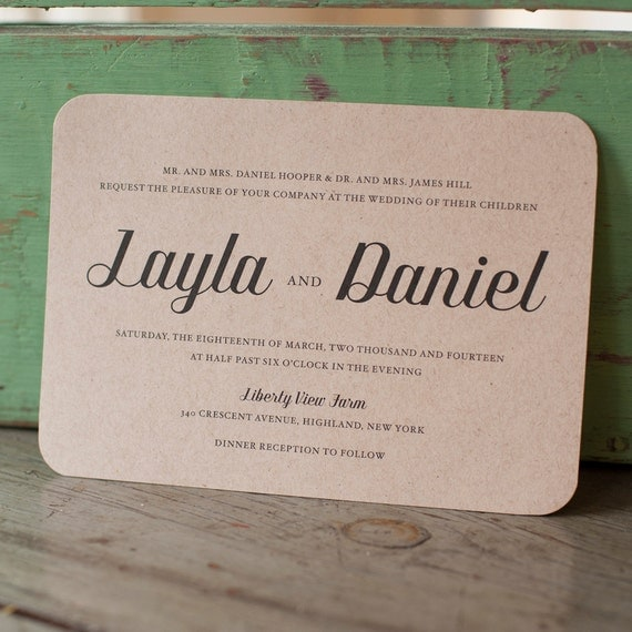 The Layla Wedding Invitation, Typography Wedding Invitation, kraft wedding invitation, rustic wedding invitation, eco friendly - The Layla