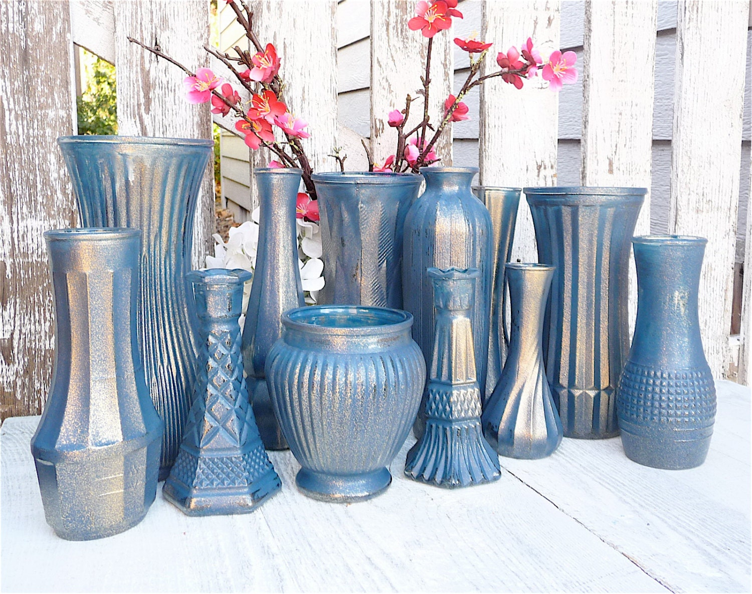cobalt and gold vases shabby chic painted vase by. Black Bedroom Furniture Sets. Home Design Ideas