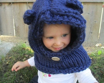 Navy Teddy Bear Hood/Cowl - Infant, Toddler, and Child sizes available