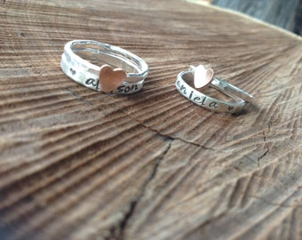 Set of two ring set with personalized name band and stacking band with copper heart.  Hand stamped sterling silver stacker stackable jewelry