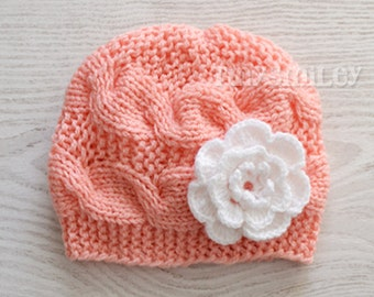 Peach Cable Knit Baby Beanie, Knit Cable Baby, Cute Baby Hat, Baby Girl Knit Hat, Baby Outfit, Hospital Girl Hats, Newborn Knit Beanie