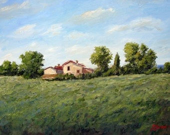 Original painting tuscany oil landscape, Impressionist, fine art, villa, green, field, trees, Sessa