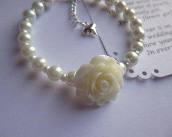Pearl Flower Girl Bracelet, Flower Girl Bracelet, Childs Bracelet, Pearl Childs Bracelet, Pearl Flower Girl Gift, Pearl Flower Girl Jewelry