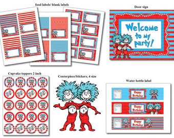 Instand DL - Thing 1 Thing 2 PARTY Package - Printable Birthday Package (NON Personalized)