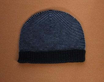 Black/Grey Cashmere Stripa Hat