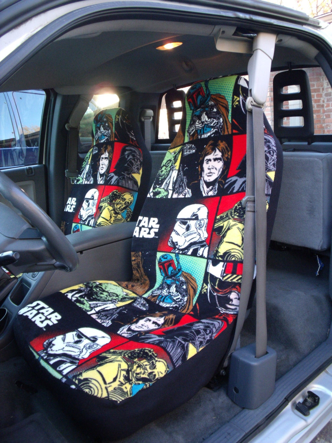 1 set of ultra cuddle star war print car seat covers and. Black Bedroom Furniture Sets. Home Design Ideas