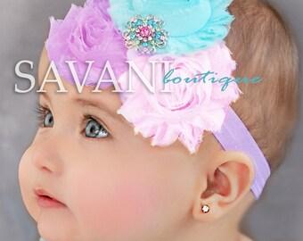 Baby headband,Lavender, pink,aqua Baby headband, vintage headband, shabby chic roses headband, headband