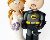 Custom handmade, personalized Bride & Batman Superman Groom Wedding cake toppers, made to look like you in any outfits or poses you want.