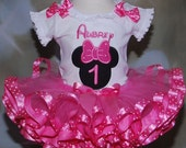 Minnie Mouse Birthday Tutu Outfi,  First Birthday Tutu Outfit  2 pieces Minnie Mouse Pink ribbon trimmed tutu