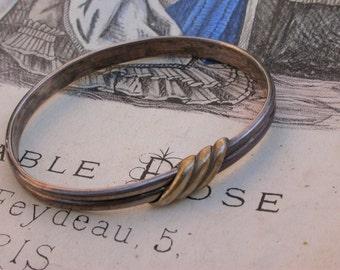 French antique 19th century art nouveau sterling silver 18k gold vermeil  bracelet  stamped bracelet