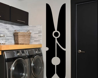 "Clothespin Laundry Room Vinyl Wall Sticker Decal 11""w x 40""h"