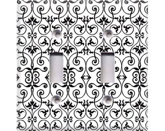 Black and White Intricate Double Light Switch Cover