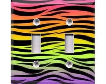 Rainbow Zebra Print Double Light Switch Cover