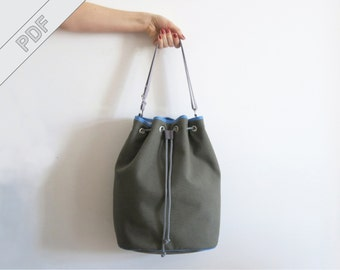 sewing tutorial with sewing pattern for a bucket bag, drawstring bag, PDF eBook