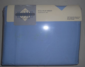 No Iron Percale Full Size Blue Sheet