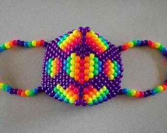 Neon Kaleidoscope heart kandi rave mask