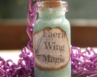 Faerie Wing Magic Bottle Charm Necklace