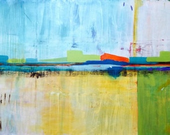 "Large Abstract Colorful Painting 36in x 65in ""Passenger"""