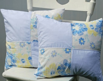 Decorative Pillow Vintage – Blue White Yellow Floral – Throw Pillow – Accent Pillow