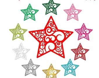 digital christmas star clipart, holiday clip art star, digital scrapbook supplies, vector graphics, DIGITAL DOWNLOAD CA-243