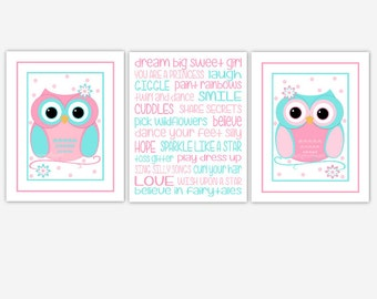 Owl Baby Girl Nursery Art Pink Blue Owls Girls Saying Baby Nursery Decor Little Girls Room Decor 3 Print Set CUSTOMIZE COLORS
