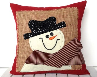 snowman christmas pillow cover 20x20 holiday pillow decorative pillow cushion christmas decoration - Christmas Decorative Pillows
