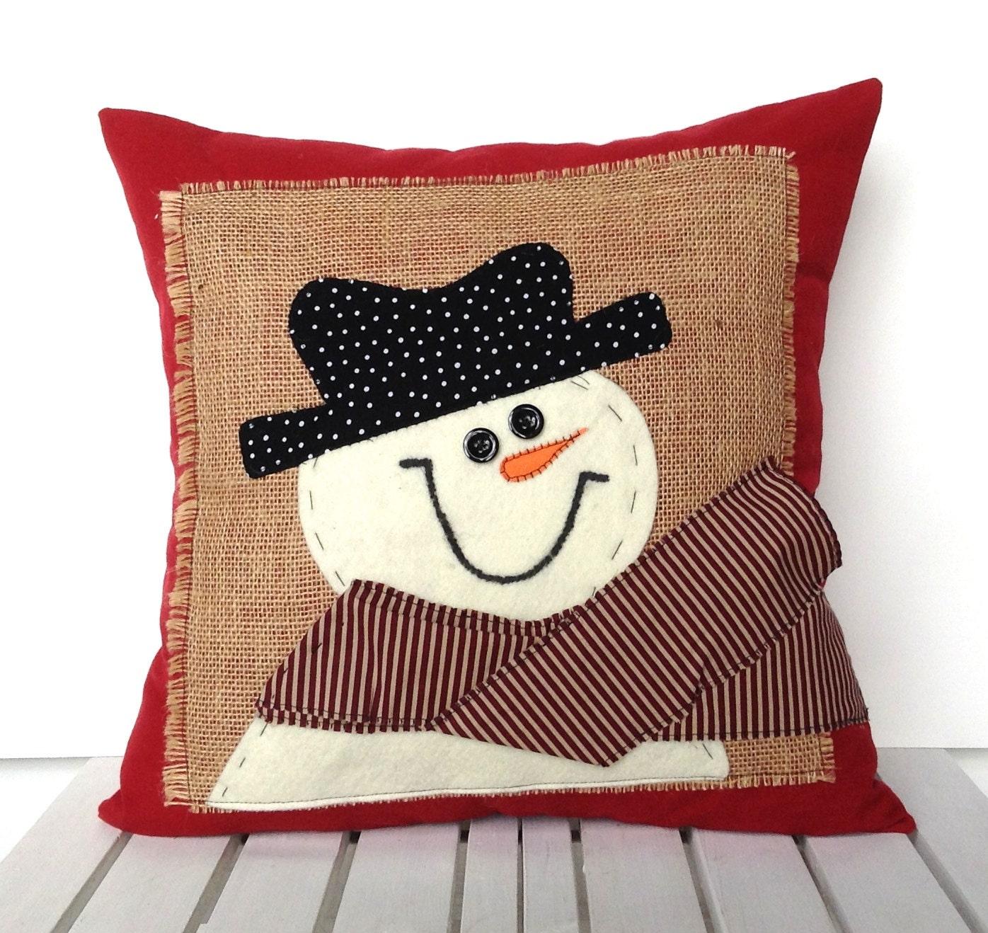 Decorative Christmas Pillows Throws : Snowman Christmas Pillow cover holiday pillow decorative