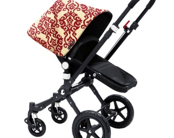 Bugaboo Cameleon, bee, donkey, frog custom canopy hood cover red and ivory