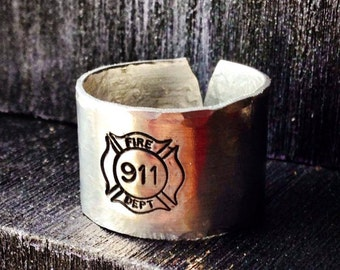 Firefighter ring, fireman ring, 911, Personalized Ring, Engraved ring, Adjustable Finger cuff, EMT, Paramedic, Medic