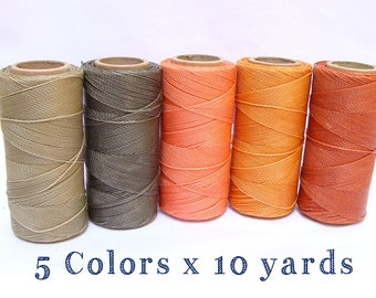 Macrame Waxed Cord - Waxed Polyester Thread - Set of 5 Colors - 10 yards each - SUNRISE