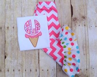 toddler Birthday outfit  Ice Cream cone Birthday ruffle pants set  Monogrammed Birthday ice cream cone girls Chevron and polka dot clothing