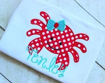 girls crab shirt girls aqua and red crab birthday shirt  toddler birthday summer clothinig birthday clothing girl birthday applique top