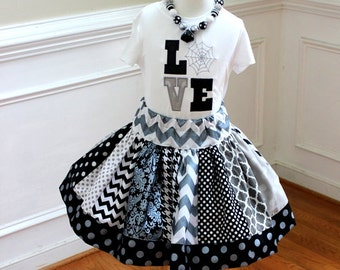 girls halloween outfit toddler girl halloween outfit damask polka dot chevron quatrefoil silver black gray skirt  Girl halloween skirt set