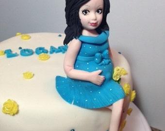 Pregnant Lady Fondant Cake topper/Fondant Baby/Pregnant/BabyShower/cake topper/cupcake topper/edible/toppers
