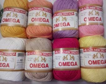 Omega cotton yarn mercerized 4 pcs thru 8 pcs  size  6  / Omega hilo algodon mercerizado 4 pzas hasta 8 pzas  medida  6
