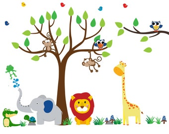 Kids Tree WALL DECAL, Reusable Fabric Wall Decal, Jungle Decal - N142