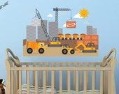 City scape construction site tractors crane cement trucks bulldozer dump truck vinyl wall decal by Wall Jems Wall Decals