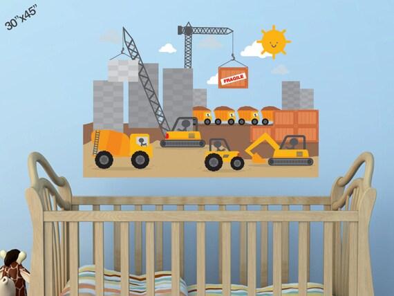 City scape construction site tractors crane cement trucks for Construction site wall mural